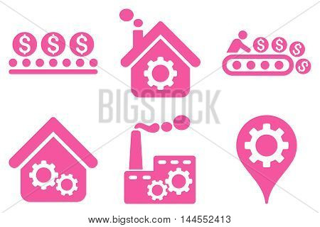 Industrial Production vector icons. Pictogram style is pink flat icons with rounded angles on a white background.
