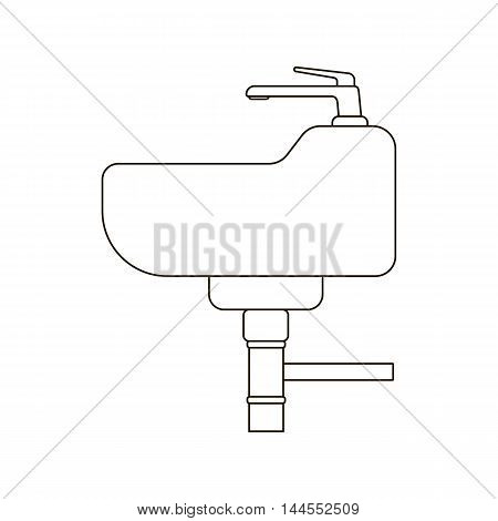 Sink icon line style. One icon of a large plumbing line.