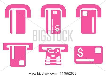 Payment Terminal vector icons. Pictogram style is pink flat icons with rounded angles on a white background.