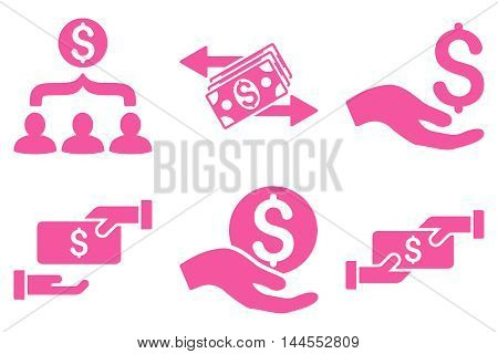 Payment vector icons. Pictogram style is pink flat icons with rounded angles on a white background.