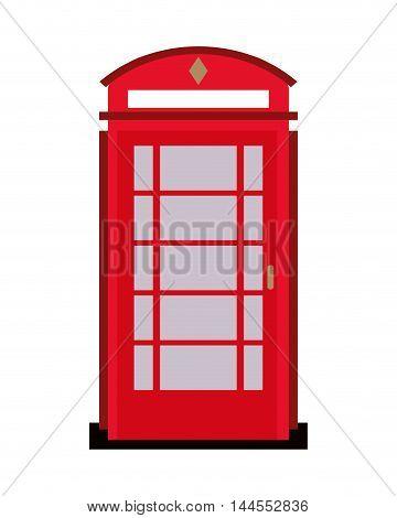 flat design english phone booth icon vector illustration