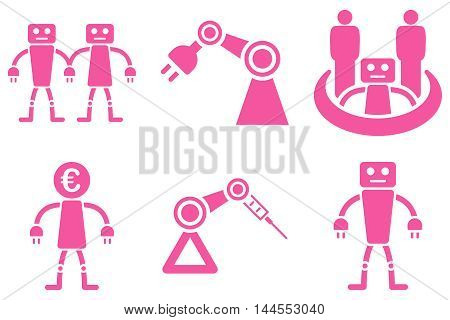 Robotics vector icons. Pictogram style is pink flat icons with rounded angles on a white background.