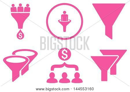Sales Filter vector icons. Pictogram style is pink flat icons with rounded angles on a white background.