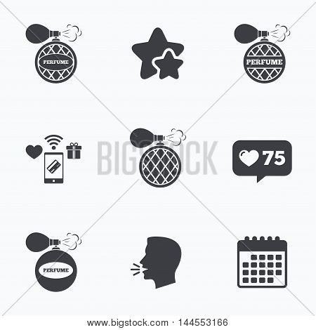 Perfume bottle icons. Glamour fragrance sign symbols. Flat talking head, calendar icons. Stars, like counter icons. Vector