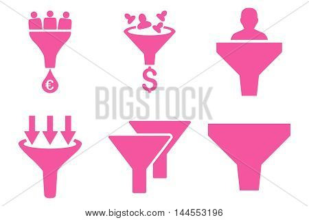 Sales Funnel vector icons. Pictogram style is pink flat icons with rounded angles on a white background.