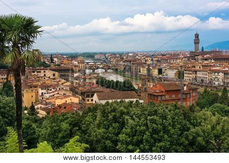 Scenic view of the city of Florence the Arno River and the Ponte Vecchio Bridge in Italy.