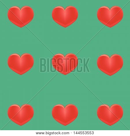 Small red hearts on a green background