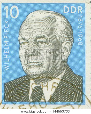 EAST GERMANY - CIRCA 1960: stamp showing a portrait of first German Democratic Republic president Wilhelm Pieck , circa 1960