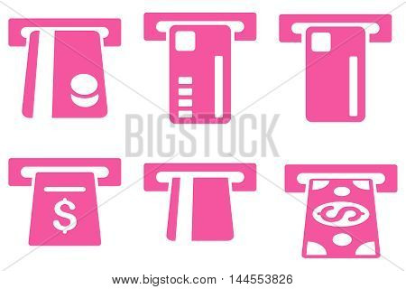 Ticket Terminal vector icons. Pictogram style is pink flat icons with rounded angles on a white background.