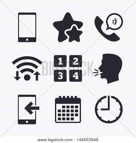 Phone icons. Smartphone incoming call sign. Call center support symbol. Cellphone keyboard symbol. Wifi internet, favorite stars, calendar and clock. Talking head. Vector