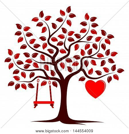 vector tree with one big heart and swing isolated on white background