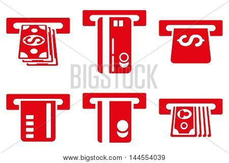 ATM Bank Cashout vector icons. Pictogram style is red flat icons with rounded angles on a white background.