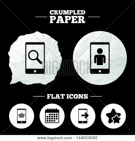 Crumpled paper speech bubble. Phone icons. Smartphone video call sign. Search, online shopping symbols. Outcoming call. Paper button. Vector