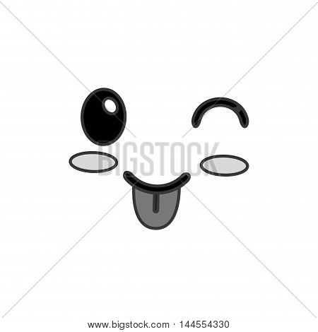 flat design kawaii happy wink facial expression icon vector illustration