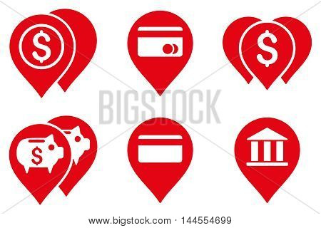 Bank Map Markers vector icons. Pictogram style is red flat icons with rounded angles on a white background.