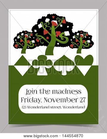 Invitation card - Tree from Wonderland Garden or Forest. Printable Vector Illustration for Graphic Projects, Parties, Scrapbooking and the Internet.