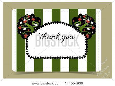 Thank you Note - tree from Wonderland garden or forest.  Printable Vector Illustration for Graphic Projects, Parties and the Internet.