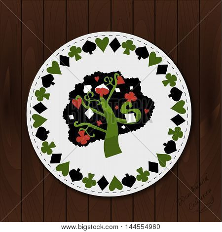 A Tree - Drink Coaster from Wonderland Forest or Garden on Wooden Background. Printable Vector Illustration for Graphic Projects, Parties , scrapbooking and the Internet.
