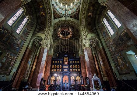 Iconostasis of Coronation Cathedral deticated to Holy Trinity in Citadel of Alba Iulia city in Romania