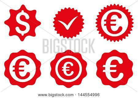 Banking Stamp vector icons. Pictogram style is red flat icons with rounded angles on a white background.