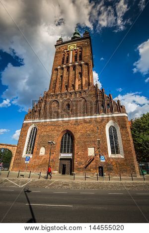 Gdansk Poland- September 19 2015:St. Catherine's Church (Kosciol sw. Katarzyny) the oldest church in Gdansk Poland