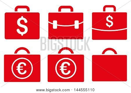 Business Case vector icons. Pictogram style is red flat icons with rounded angles on a white background.
