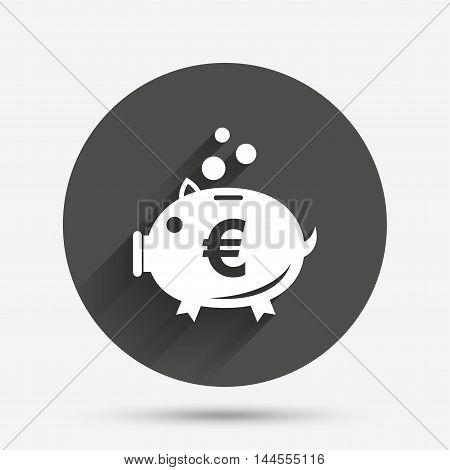 Piggy bank sign icon. Moneybox euro symbol. Circle flat button with shadow. Vector