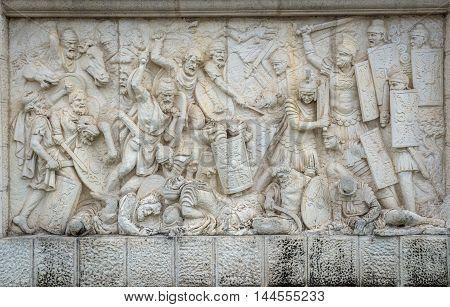 relief at University Square in Citadel of Alba Iulia city in Romania