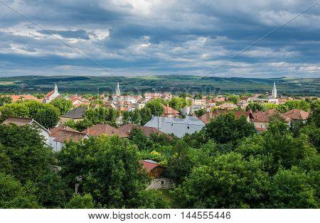 Aerial view from Citadel of Alba Iulia city in Romania