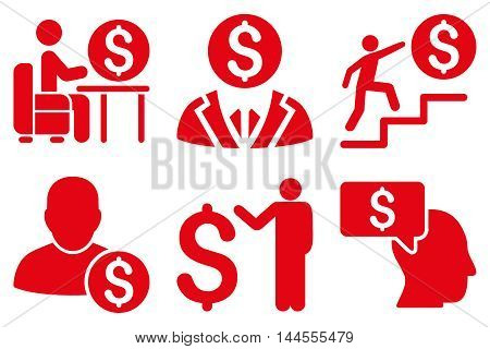 Businessman vector icons. Pictogram style is red flat icons with rounded angles on a white background.