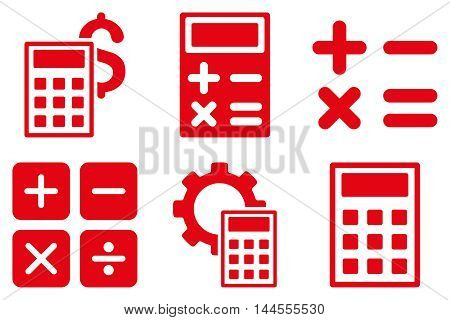 Calculator vector icons. Pictogram style is red flat icons with rounded angles on a white background.