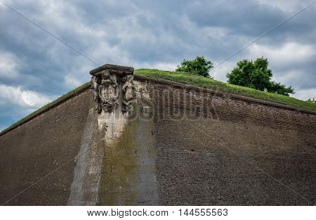 Walls of Eugen of Savoia Bastion in Citadel of Alba Iulia city in Romania