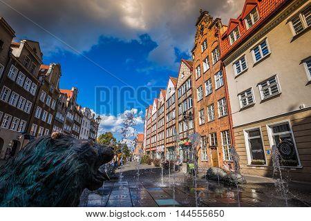 Gdansk Poland- September 19 2015:Old district of the city of Gdansk