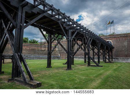 Wooden bridge in Citadel of Alba Iulia city in Romania