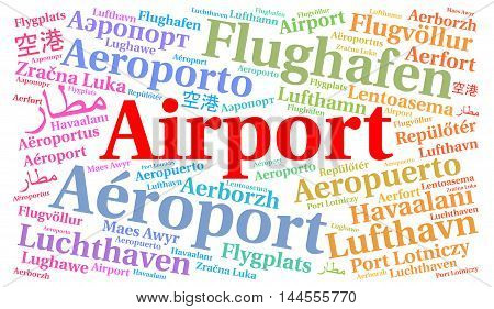 Airport word cloud concept in different languages