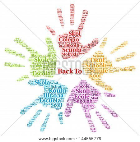 School in different languages word cloud with a white background