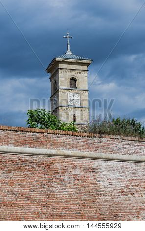 Bell tower of St. Michael's Cathedral in Citadel of Alba Iulia city in Romania