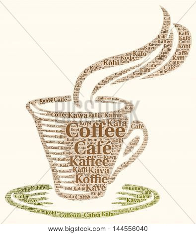 Coffee in different languages word cloud concept