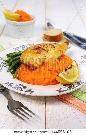 Bright dinner: roast chicken and carrot puree