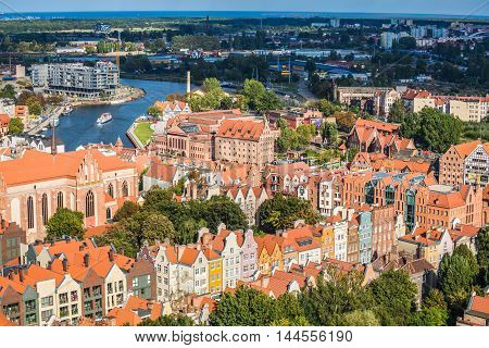 Gdansk Poland- September 19 2015:Old Town in Gdansk aerial view from cathedral tower Poland