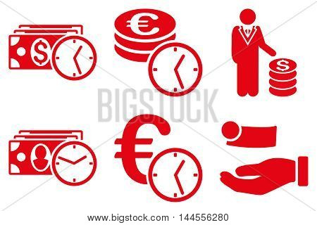 Credit vector icons. Pictogram style is red flat icons with rounded angles on a white background.