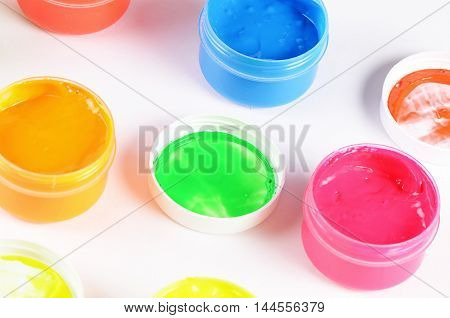 Children's Colorful Finger Paints In Jars