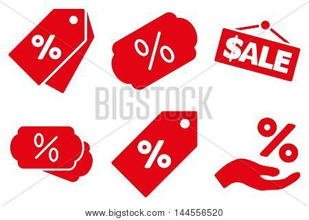 Discount Percent vector icons. Pictogram style is red flat icons with rounded angles on a white background.