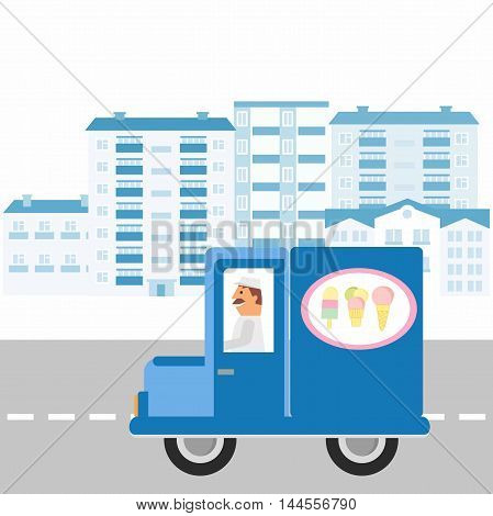 Ice cream machine icon. illustration ice cream truck goes on the road against the background of the city. Side view, isolated.