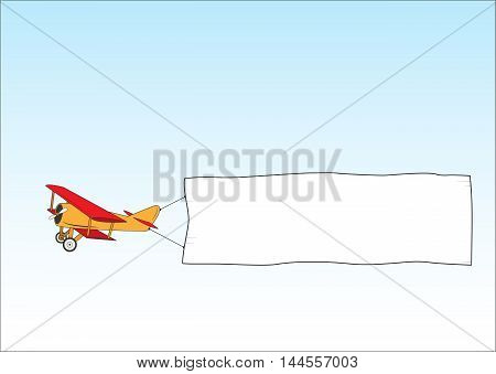 Air ads. Banner towing. Aerial advertising. Plane banner. Cartoon plane in the sky. Isolated illustration.