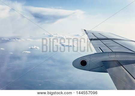 Airplane Wing in Flight, view out of aircraft