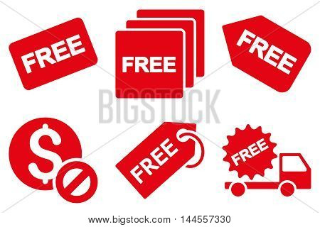 Free Tag vector icons. Pictogram style is red flat icons with rounded angles on a white background.