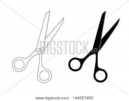 Isolated scissors illustration. Scissors silhouette. Vector. tool