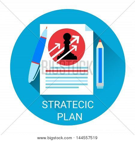 Strategy Planning Business Economy Icon Flat Vector Illustration