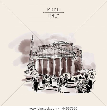 original freehand watercolor sepia travel card from Rome Italy, old italian imperial building Pantheon with people walking, travel book vector illustration
